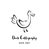 Vector Duck Calligraphy Emblem. Duck calligraphy emblem. Vector abstract animal sign in lettering style Stock Illustration