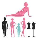 Vector dummy mannequin model poses male and female beautiful attractive sculpture plastic figure silhouette. Royalty Free Stock Photo