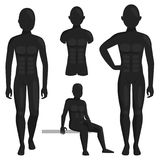 Vector dummy mannequin model poses male and female beautiful attractive sculpture plastic figure silhouette. Vector dummy mannequin model. Different poses Stock Photography