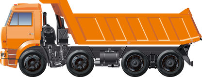 Vector dump truck. Heavy truck illustration isolated on white backgroud with clipping path Royalty Free Stock Images
