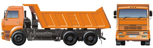 Vector dump truck. Heavy truck illustration isolated on white backgroud with clipping path Royalty Free Stock Photos