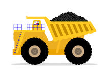 Vector dump truck with driver carries of coal Stock Image