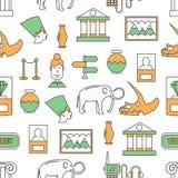 Vector dun het museum naadloos patroon van de lijnkunst stock illustratie