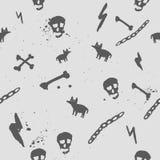 Vector dunkles nahtloses Muster mit dem Schädel, Knochen und Stockfotos