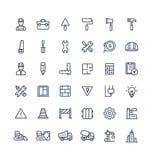 Vector dunne die lijnpictogrammen met bouw worden geplaatst, industrieel, architecturaal, de symbolen van het techniekoverzicht stock illustratie