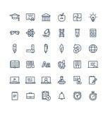 Vector dunne die lijnpictogrammen met onderwijs, online het leren overzichtssymbolen worden geplaatst stock illustratie