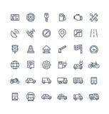 Vector dunne die lijnpictogrammen met vervoer, de symbolen van het navigatieoverzicht worden geplaatst vector illustratie