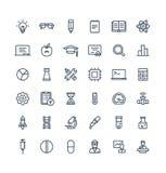 Vector dunne die lijnpictogrammen met wetenschap en van het laboratoriumonderzoek overzichtssymbolen worden geplaatst royalty-vrije illustratie