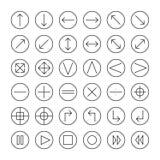 Vector dunne die voor Web worden geplaatst en mobiele pictogrammen lijn stock illustratie
