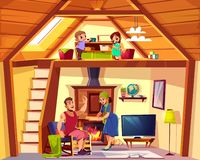 Vector duplex cross section with happy family royalty free illustration
