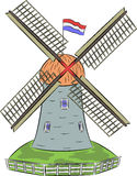 Vector Dutch windmill. Royalty Free Stock Images
