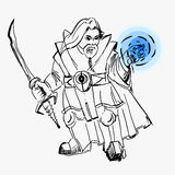 Vector, dwarf warrior magician, line drawing, sword, cloak, magic, black, white, sketch, for games, fictional cartoon. Vector, dwarf warrior magician, line Royalty Free Stock Photo