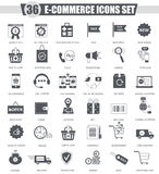 Vector E-commerce black icon set. Dark grey classic icon design for web. Royalty Free Stock Photo