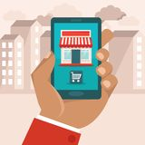 Vector e-commerce concept in flat style icon on it Royalty Free Stock Image
