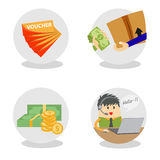 Vector e-commerce icon. With icon voucher,icon money,icon customer service Stock Photography