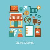 Vector e-commerce icons and signs in flat style stock illustration