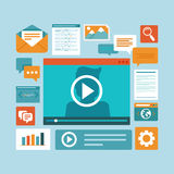 Vector e-learning concept in flat style. Digital content and online webinar icons Stock Photos