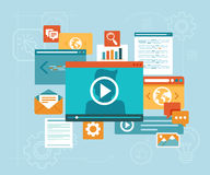 Vector e-learning concept. In flat style - digital content and online webinar icons Royalty Free Stock Photography