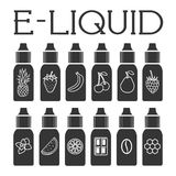 Vector E-Liquid illustration of different flavor. Liquid to vape Royalty Free Stock Images