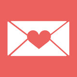 Vector e-mail, envelop icons with heart wax press.For Valentine Day. Stock Image