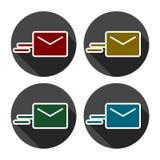 Vector e-mail geplaatste pictogrammen stock illustratie
