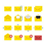 Vector e-mail icons. Set of vector icons e-mail. Yellow icons mail letter, e-mail in a flat style for use in your design layouts and web applications Royalty Free Stock Images