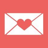 Vector E-Mail, schlagen Sie Ikonen mit Herzwachspresse ein Für Valentinstag Stockbild