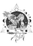 Vector eagle tattoo or t-shirt print design. Eagle combined with nature, geometric pattern, moon phases and boho elements