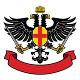 Eagle two headed heraldry with pair of swords and blank ribbon royalty free illustration