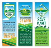 Vector Earth Day banners for Save Planet Nature. Save Planet and green environment banners templates. Nature and ecology conservation design for 22 April Earth Royalty Free Stock Photos