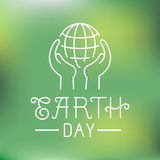 Vector earth day logo in linear style. Ecology concept - hands protecting planet vector illustration