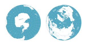 Vector Earth globe arctic and antarctic view. Earth globe arctic and antarctic view Royalty Free Stock Photography