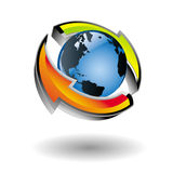 Vector earth icon with arrows around it Stock Photo