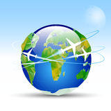 Vector-earth-planet. Planet earth on a blue background around the earth planes fly Stock Image