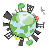 Vector Earth Showing Buildings, Childrens, Trees Royalty Free Stock Images