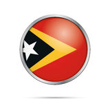 Vector East Timor flag in glass button style. Stock Photography