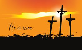Calvary and crosses at sunset. Vector Easter banner with handwritten inscriptions He is risen, with mount Calvary and crosses at sunset Stock Image