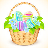 Easter bucket with flowers and decorated eggs Royalty Free Stock Photography