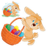 Vector easter bunny holding a basket for hunting on decorated easter eggs. Stock Photography