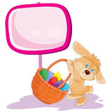 Vector easter bunny holding a basket for hunting on decorated easter eggs. Stock Images