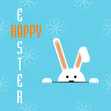 Vector Easter bunny looking out a blue  background eps 10 Royalty Free Stock Images