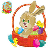 Vector easter bunny sitting in a basket for easter hunting with decorated eggs and yellow chickens. Stock Photo