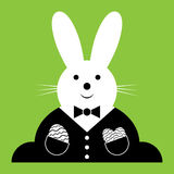 Vector Easter bunny with suit and eggs Stock Image
