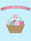 Vector Easter card. Easter basket with eggs. Stock Photos