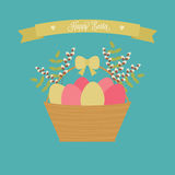 Vector Easter card. Easter basket with eggs, willow, green branches. Royalty Free Stock Photos