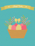 Vector Easter card. Easter basket with eggs, willow, green branches. Royalty Free Stock Image