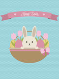 Vector Easter card. Easter basket with rabbit, eggs and tulips. Stock Images