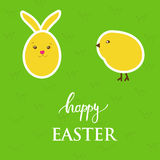 Vector easter card with  egg, rabbit, chick on green grass background Stock Photo