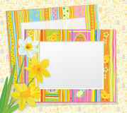 Vector Easter card, empty photo frames with daffod Stock Photography