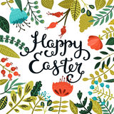 Vector easter card with handdrawn lettering. On flower background for design greeting cards Royalty Free Stock Image